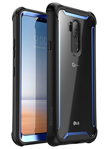 LG G7 Case, LG G7 ThinQ Case, i-Blason [Ares] Full-body Rugged Clear Bumper Case with Built-in Screen Protector for LG G7 (2018 Release) (Black/Blue)
