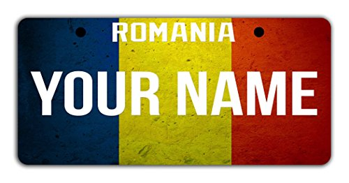 BleuReign(TM) Personalized Custom Name License Romania Flag Plate Bicycle Bike Moped Golf Cart 3