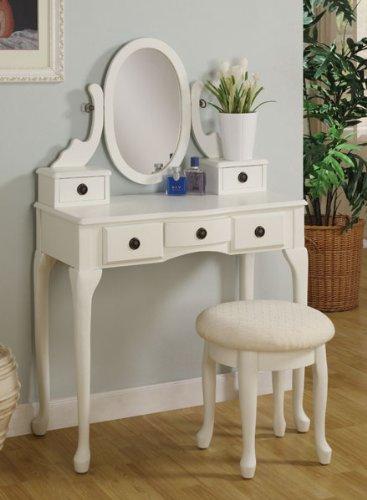 Poundex Bobkona Susana Tri Fold Mirror Vanity Table With