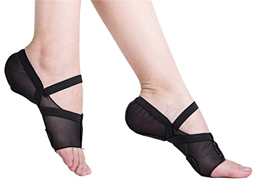 Lyrical Jazz Dance - staychicfashion Women's Full Body Mesh Stretch Lyrical Shoes Ballroom Jazz Pratice Dance Pads(S, Black)