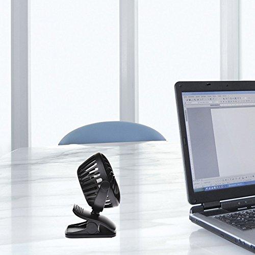 LianLe Small USB Clip On Fan, Mini Clip on and Desk Fan, USB