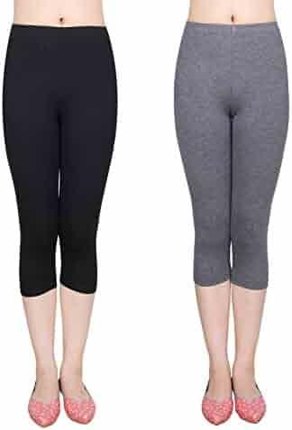 e93f9025a4179 IRELIA 2 Pack Modal Girls Leggings Capri Solid Pant for School/Holiday