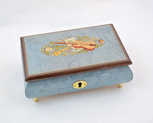 Sorrento Inlaid Music Box (Made in Italy Sorrento Inlaid Light Blue Violin Inlaid Music Box - Clair De Lune (Sankyo)
