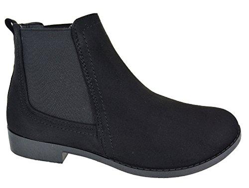 EYESONTOES Ladies Womens Ankle Zip Flat Low Block Heel Chelsea Buckle Boots Shoes Size 3-8 BLACK 4