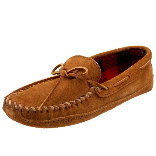 Minnetonka Men's Double Bottom Fleece Slipper,Brown,8 M US