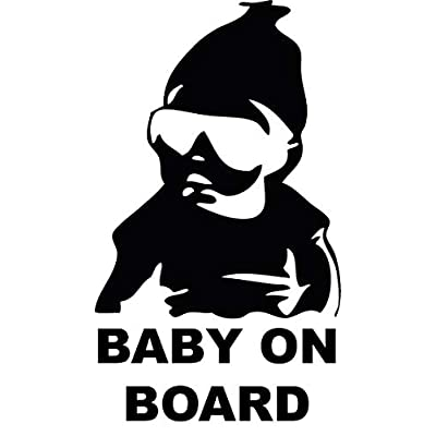 Black 5'' Funny Car Window Laptop Vinyl Decal Baby on Board Hangover Sign Sticker: Automotive