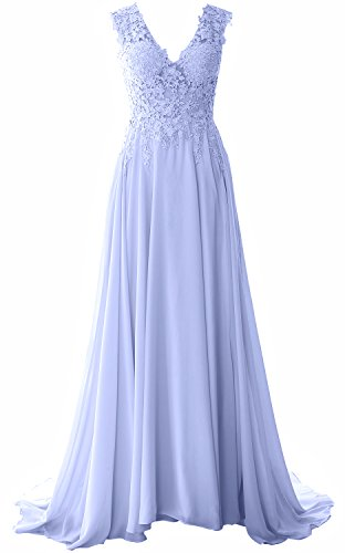MACloth Women Straps V Neck Lace Chiffon Prom Dress 2017 Formal Evening Gown (10, Sky Blue) (Plus Size 90s Fancy Dress)