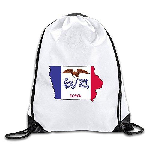 (Flag Map Of Iowa Drawstring Backpack Bag Gym Sack)
