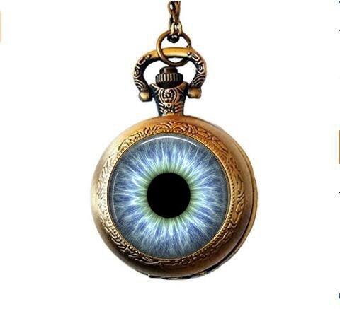 Blue Human Eye Pendant Necklace - Eyeball Necklace - Blue Eye Pendant - Eyeball Jewelry - Blue Pocket Watch Necklace - Third Eye - 3rd Eye Jewelry