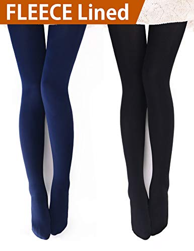 VERO MONTE 2 Pairs Womens Opaque Warm Fleece Lined Tights (BLACK + NAVY) 460421
