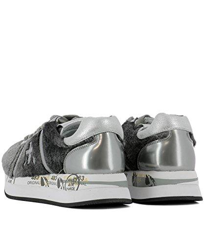 Mujer Cuero Zapatillas Gris Conny2609 Premiata d4OP6xd