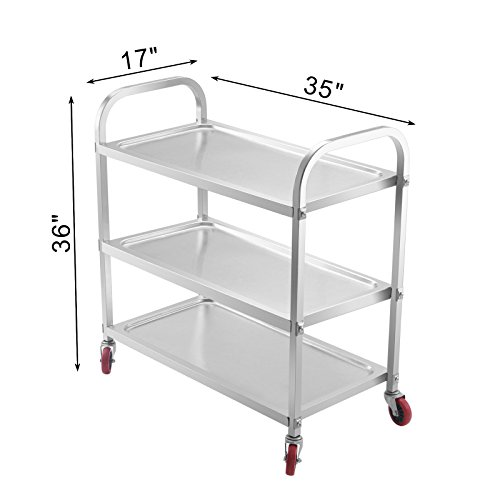 Superland 3 Shelf Utility Cart 264Lbs Stainless Steel Cart with Wheels Commercial Bus Cart for Kitchen Commercial Hotel Restaurant Dining Area Utility Serving (3 Shelf) by Superland OrangeA (Image #1)