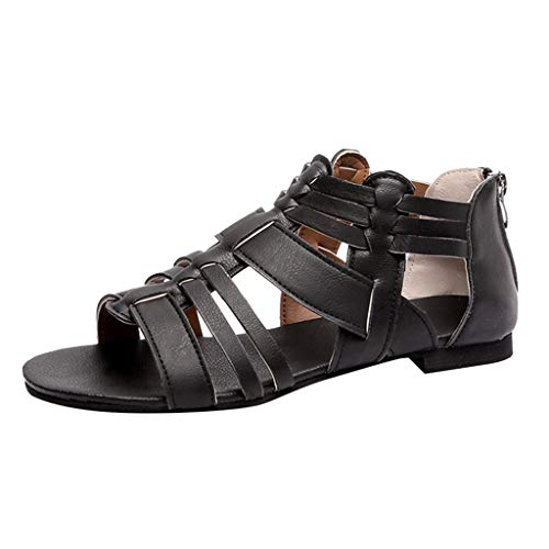 (Xinantime Large Size Women's Shoes Women's Casual Slingback Sandals Summer Beach Flat Sandals Black )