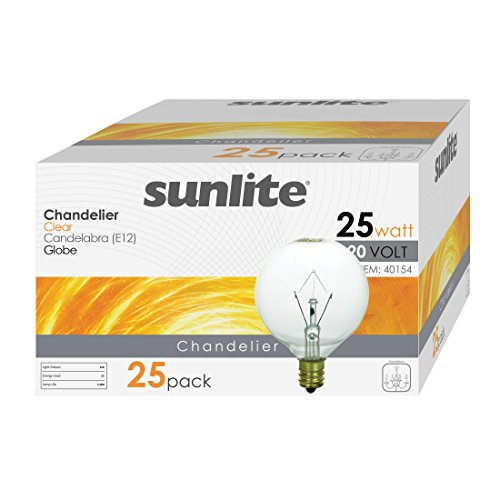 Sunlite 25G16.5/CL/25PK 25W Incandescent G16.5 Globe Crystal Clear Light Bulb with Candelabra E12 Base (25 Pack)
