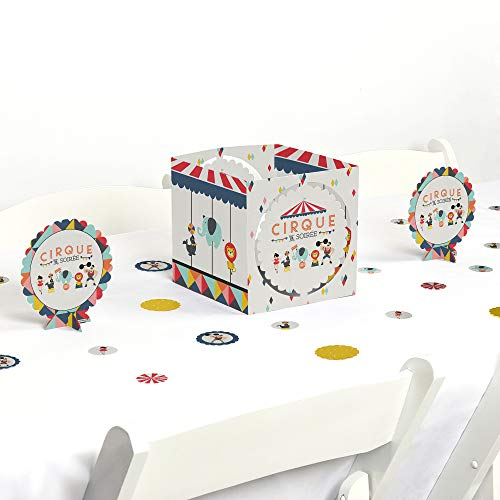 Big Dot of Happiness Carnival Circus - Cirque du Soiree - Birthday Party or Baby Shower Centerpiece and Table Decoration Kit -