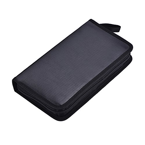eBoot 80 Capacity PU Leather Classic CD/ DVD Storage Wallets, Black