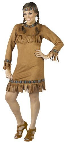 Fun World Women's Native American Indian Costume, Brown, Plus Size -