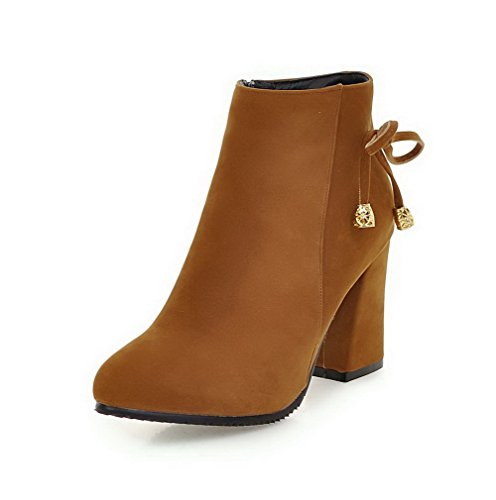 Brown high Closed Ankle Heels Boots Pointed Women's Solid Toe Zipper High WeenFashion wS1aqxH