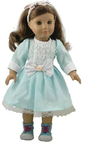 Dress Like The 70s (BUYS BY BELLA Pastel Green 1970s Dress for 18 Inch Dolls Like American Girl)
