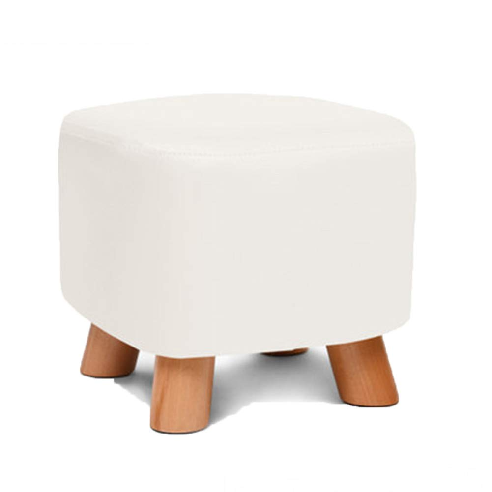 F 282825CM Stool Coffee Table Stool Solid Wood Fabric Square Stool, PU Fabric is Free to wash and wash, Kitchen Bedroom Living Room,G,28  28  25CM