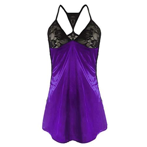 (Womens Lingerie Lace Teddy Eyelash Lace Diamond Lattice Jumpsuit One Piece Bodysuit Purple)