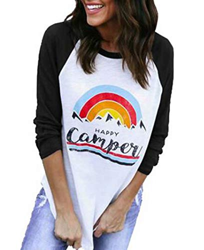 (Women's Happy Camper Rainbow Raglan Shirt 3/4 Sleeve O-Neck Baseball Tees Tops Size L (Black))