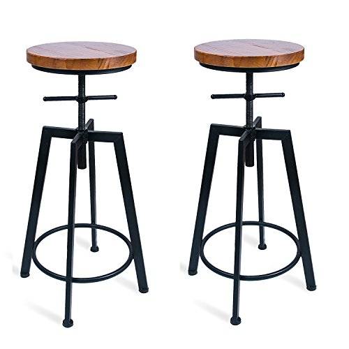ANXITIEGONGYI Best Bar Stools/Chairs for Bistro Pub Breakfast Kitchen Coffee house, Swivel Metal Round Wood Seat Bar/Counter Height Adjustable, Set of 2, (24 Inch Round Bar Stool)