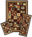 Capri Collection 3-Piece Area Rug Set: Area Rug with Matching Runner and Mat- Chelsea