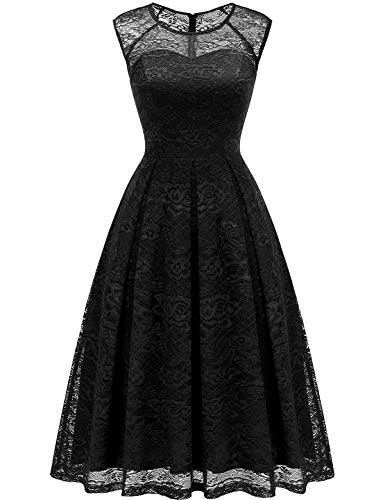 Bbonlinedress Women's Vintage Floral Lace Sleeveless Bridesmaid Dress Formal Cocktail Party Swing Dress Black M