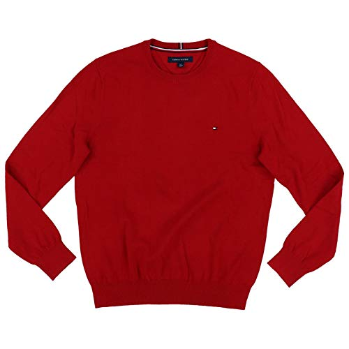 Tommy Hilfiger Men's Crewneck Sweater (Red, Small)