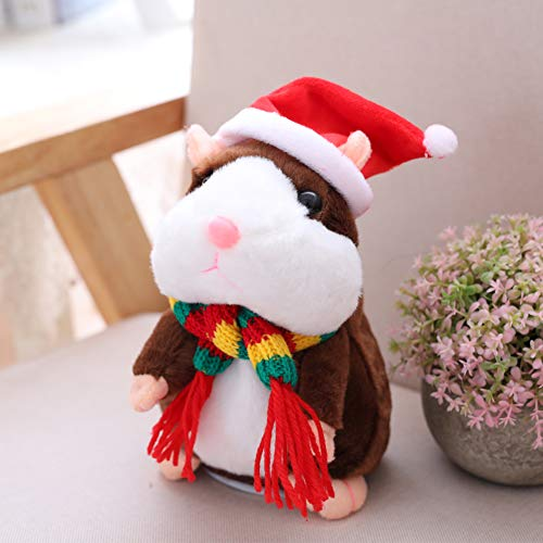 yanbirdfx Cute Talking Animal Hamster Plush Toy Record Repeat Stuffed Christmas Kids Doll Brown