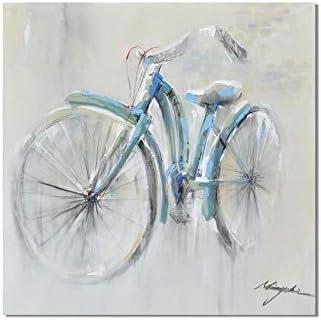XIANRENGE Pintura Al Óleo Pintada A Mano,Vintage Bicicleta Azul ...