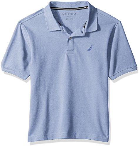 - Nautica Boys' Big Short Sleeve Solid Deck Stretch Polo, Anchor Blue Bell, Medium (10/12)