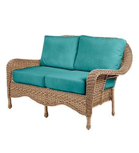 Hill Loveseat - Prospect Hill Outdoor Patio Deep Seating Love Seat Furniture - Includes Cushions - All Weather Woven Resin and Aluminum Frame, 54.75 W x 30 D x 35.5 H - Driftwood with Aqua Cushions