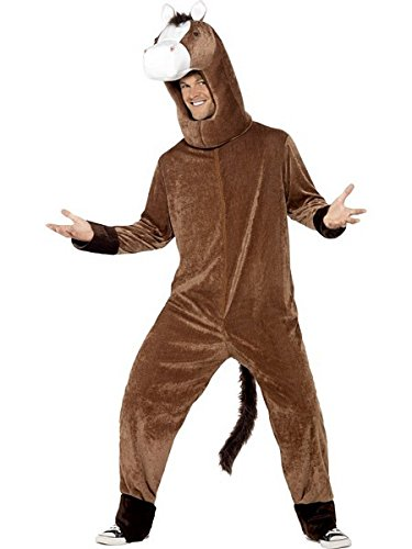 Smiffys Adult Unisex Horse Costume, Bodysuit and Hood, Party Animals, Serious Fun, One Size, -