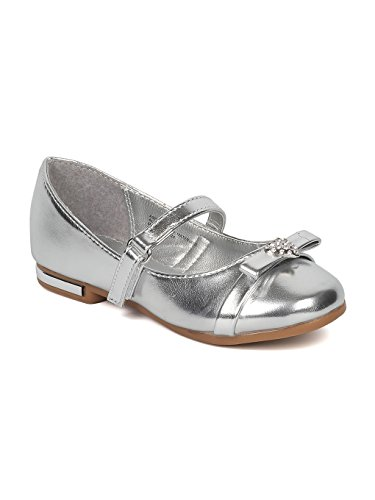 Alrisco Girls Rhinestone Heart Bow Tie Mary Jane Ballet Flat HB73 - Silver Metallic (Size: Toddler 7)]()