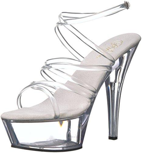 Women's 6 Inch Spike Heel Platform Sandal (Clear/Clear;5)