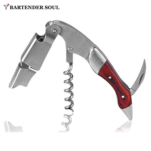 Professional Corkscrew (Pakka Wood), Double Lever with Damping, Excellent Wine Opener, Choice of Sommeliers and Waiters, Capsules Cutter, Strong 420 Grade Stainless Steel for Beer Bottles by Bartender Soul (Image #2)