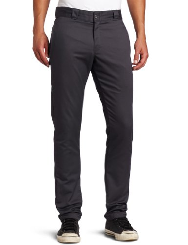 Dickies Men's Skinny Straight Fit Work Pant, Charcoal, 33x32