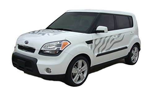 [SOUL CAT : Fits 2010-2013 Kia Soul Hood Side Door and Rear Cat Paw Style Vinyl Graphic Decal Stripes (Fits ALL MODELS) (Color-3M 68 Bright] (Vinyl Cat Hood)
