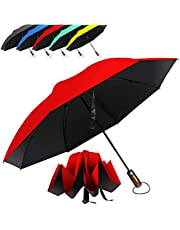 Hailstorm Inverted Umbrella. A Compact Umbrella with Ergonomic Handle, Full Fiberglass Ribs and UV Protection (Red, One_Size)