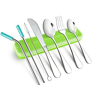 ackmond acampar al aire libre utensilios de cubertería de acero inoxidable de grado militar tenedor, cuchara, cuchillo y palillos, Green Case(Flat ...