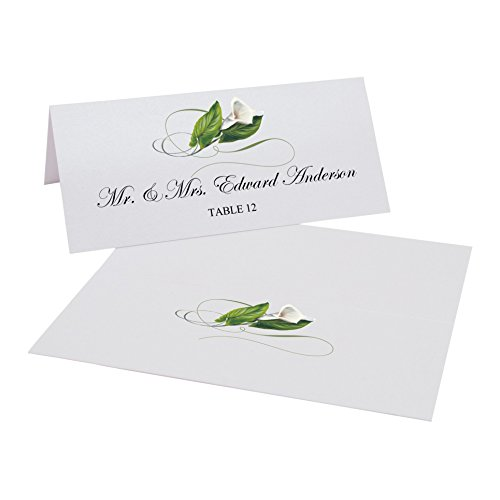 Documents and Designs Calla Lily Swirl Place Cards, Set of 60 ()