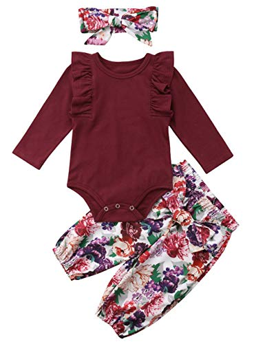 Newborn Baby Girls Clothes Ruffle T-Shirt + Floral