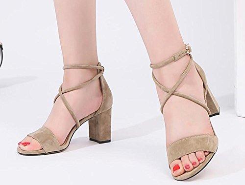 Sandalias verano femenino 2017 de los estudiantes nuevo áspero salvaje con los altos talones con la venda con los zapatos femeninos 2
