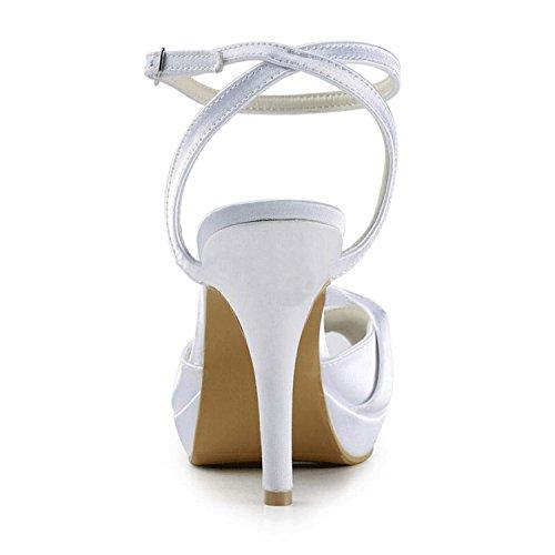 Kevin Fashion mz1230Ladies Slingback satén novia boda formal fiesta noche Prom sandalias, color Blanco, talla 43 EU