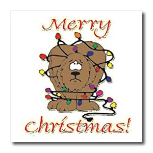 ht_160507_2 Blonde Designs Happy Holidays For All - Merry Christmas Dog Wrapped In Lights - Iron on Heat Transfers - 6x6 Iron on Heat Transfer for White Material
