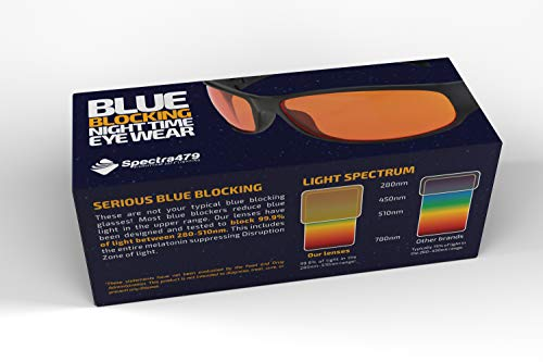 Blue Blocking Amber Glasses for Sleep - BioRhythm Safe(TM) - Nighttime Eye Wear - Special Orange Tinted Glasses Help You Sleep and Relax Your Eyes by Spectra479 (Image #6)