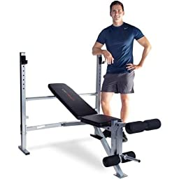 Home Gym Strength Mid-width Weight Exercise Barbell Bench | Fitness Equipment Includes a Leg Extension, Adjustable Uprights and a 2 Position Back Pad