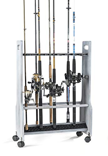 Organized Fishing Light Distressed Rolling Floor Rod or Combo Rack. Includes Oversized Clips to Secure Larger Rods Including Most Salt Water Gear.
